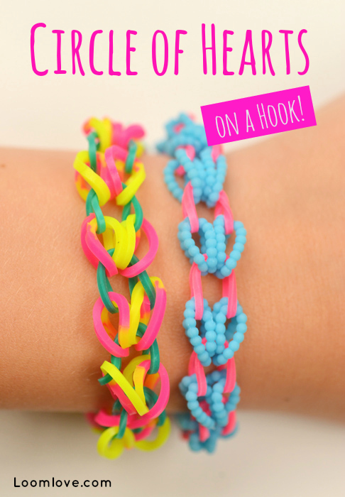 How To Make A Circle Of Hearts Bracelet On A Hook