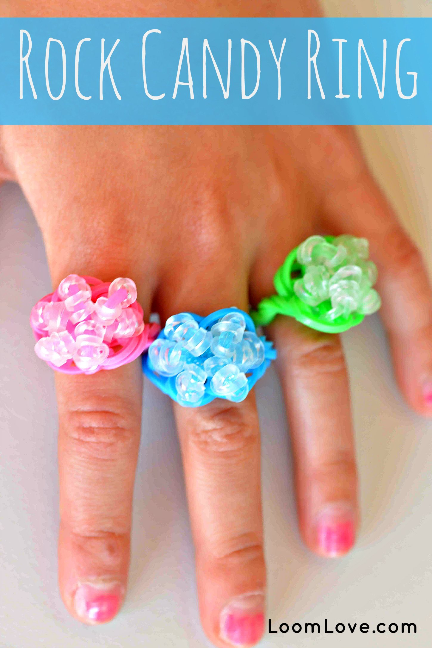 How To Make A Rainbow Loom Rock Candy Ring