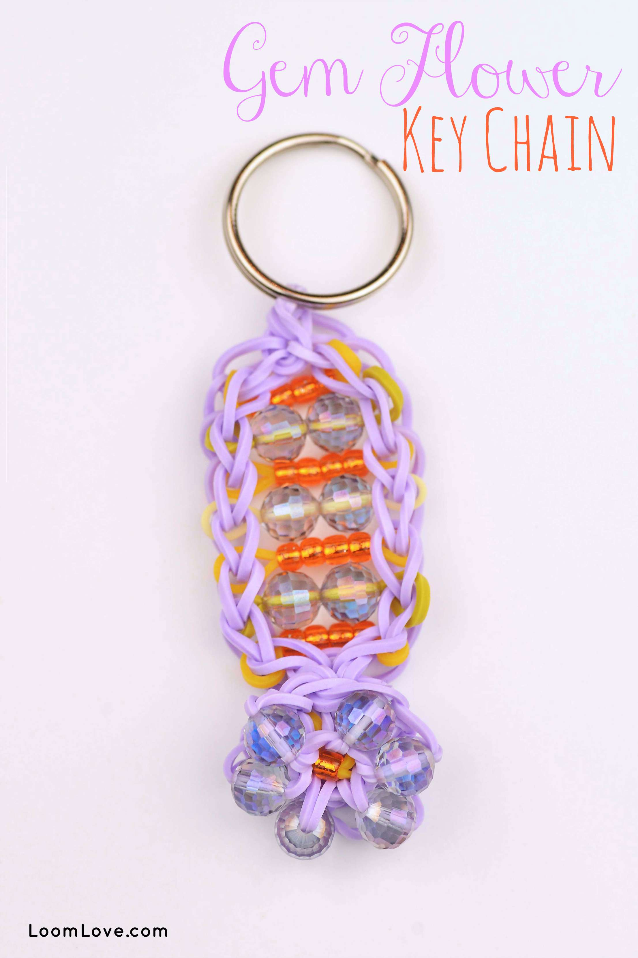 How To Make A Rainbow Loom Gem Flower Key Chain