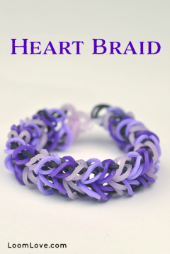 heart braid rainbow loom