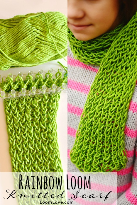 Knitting Pattern For Rainbow Scarf : How to Make a Knitted Scarf On Your Rainbow Loom