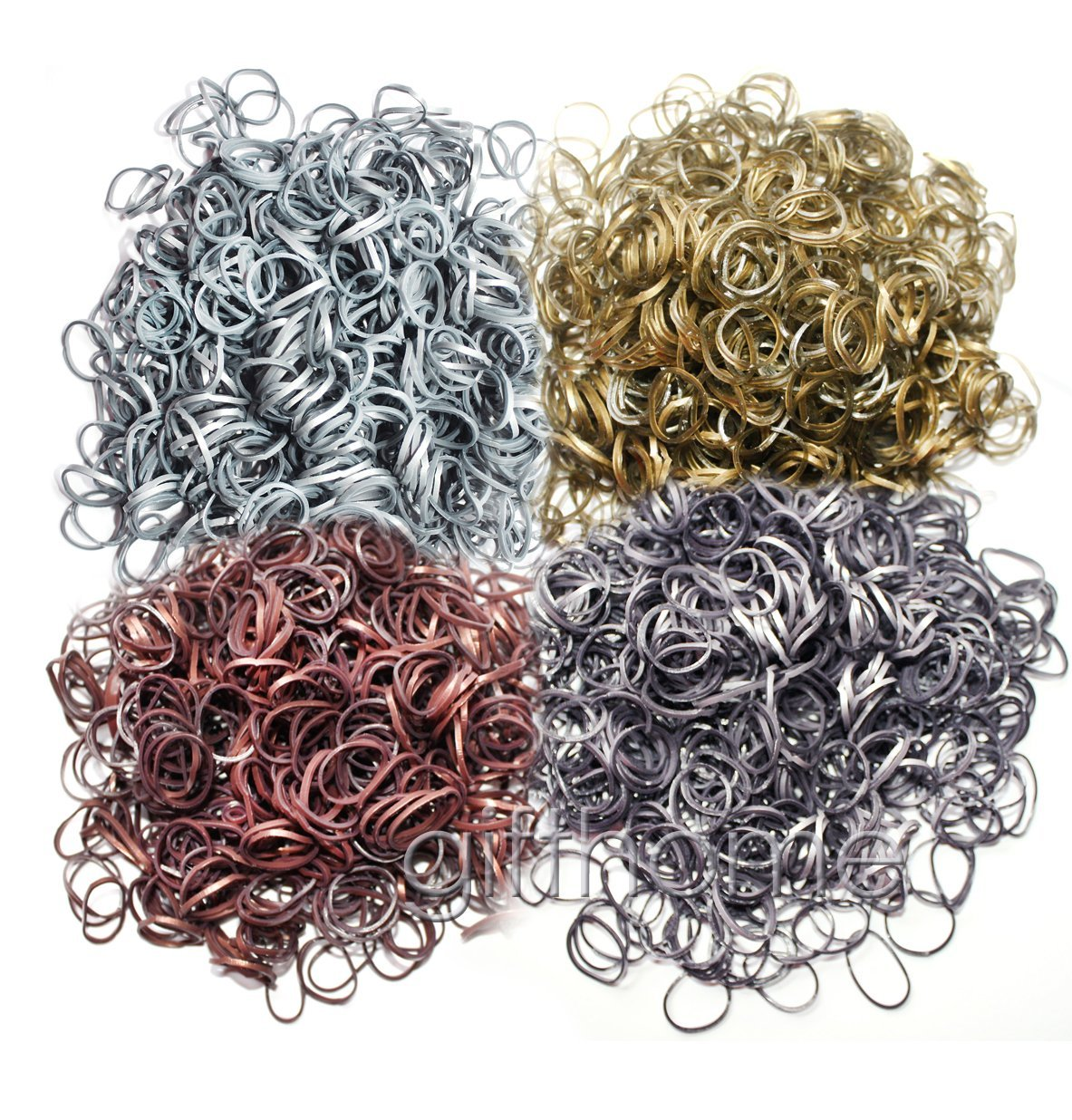 Metallic Gold Silver Bronze Steel Gray Color Loom Bands
